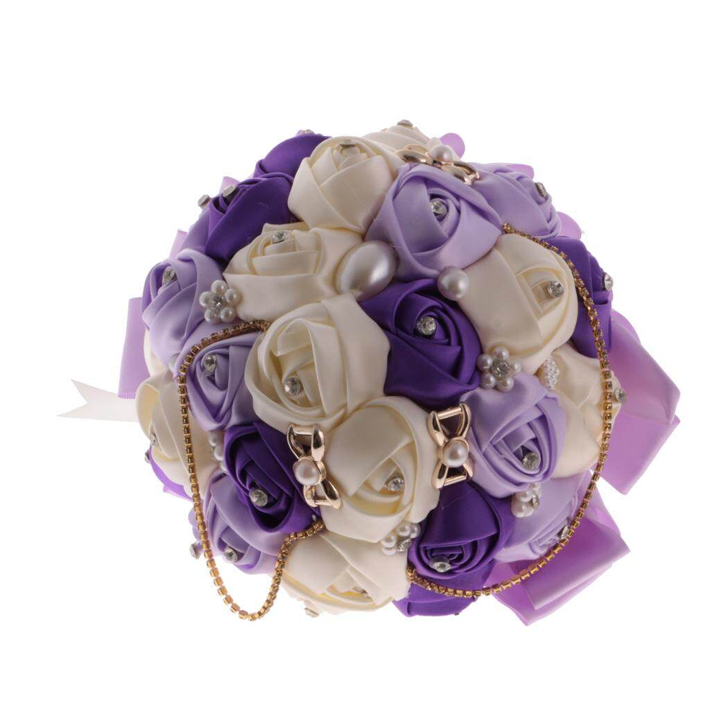 GuangquanStrade Crystal Purple Satin Silk Rose Flower Wedding Bride Bridesmaid Bouquet 20cm