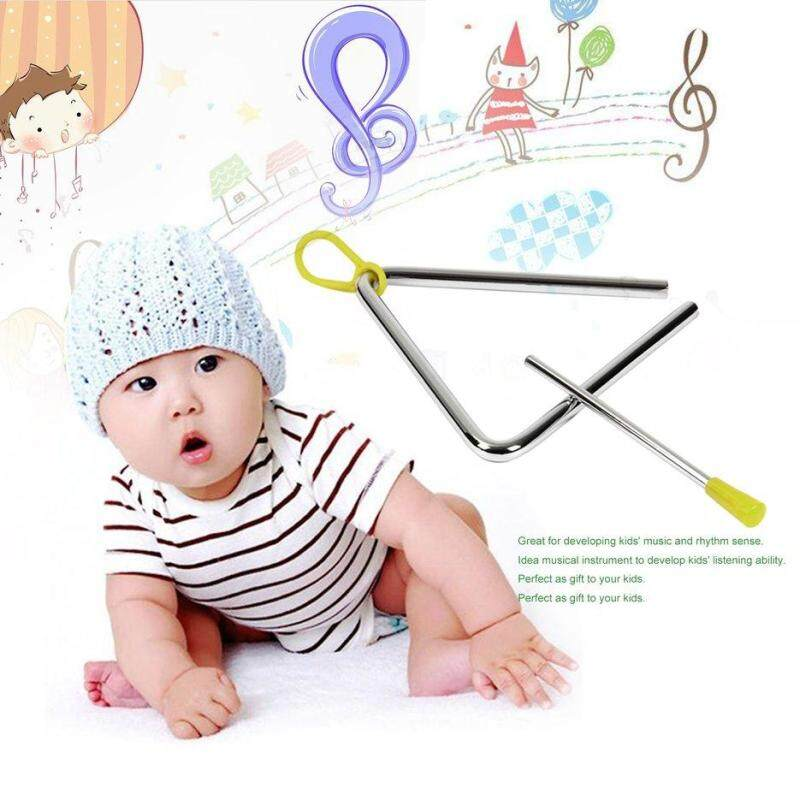 BELLE Rhythm Steel Triangle Beater Musical instruments with Stick Kids Child for Gift silver