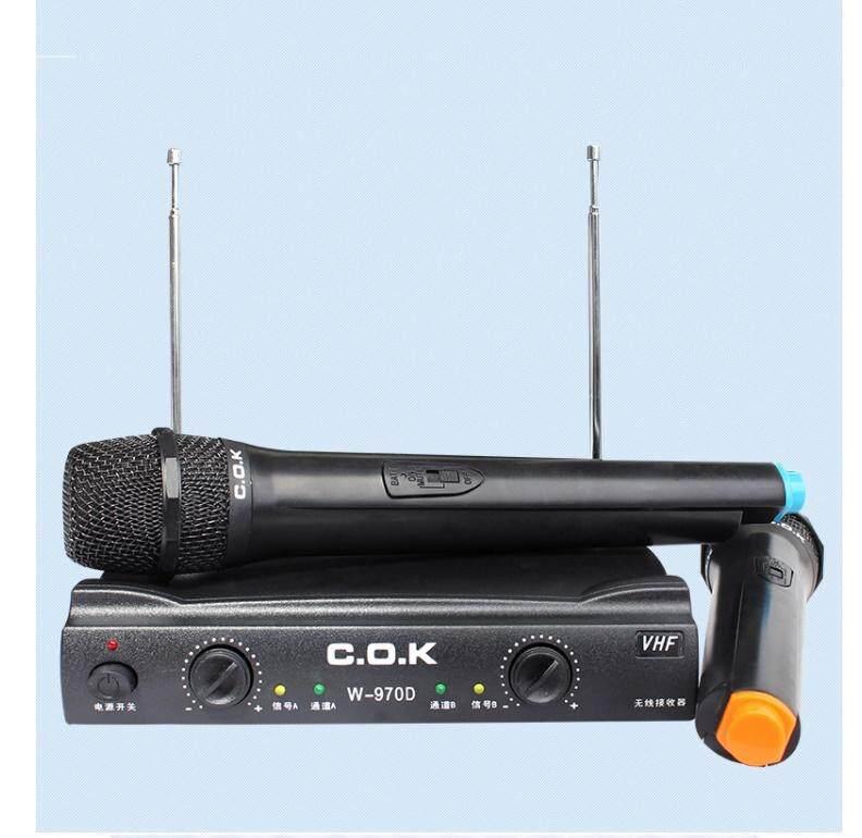 Microphone Dual Cordless Wireless Mic Set + Receiver for Karaoke DJ Sing Songs