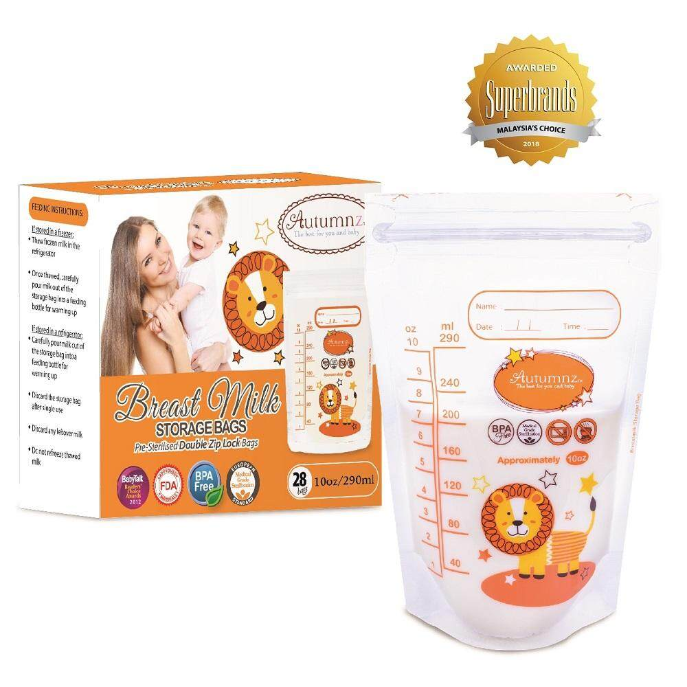 Autumnz Double ZipLock Breastmilk Storage Bag *10oz* (1 PACK) (28 bags / pack)