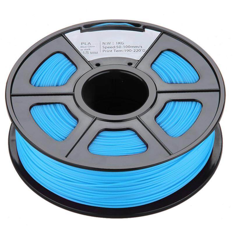 Glow in the Dark Spool of 3D Printer Filament 1Kg/2.2lbs With Tolerances: +/-0.02mm NO Air Bubbles for RepRap MakerBot etc (PLA 1.75MM, Blue Noctilucent)