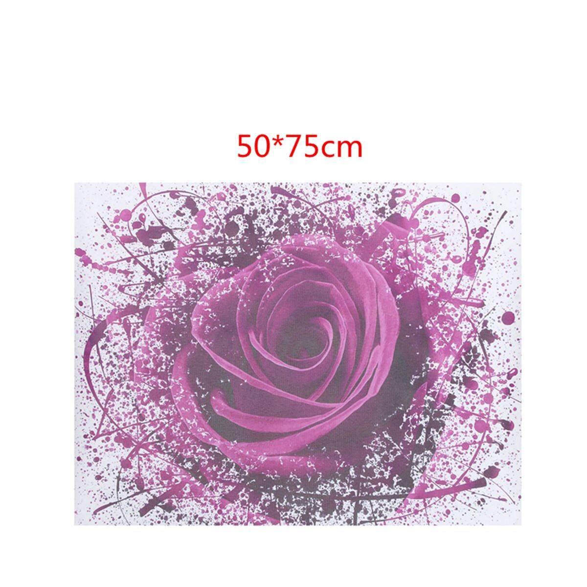 Modern Bunga Mawar Ungu Kanvas Cetak Gambar Lukisan Seni Dekorasi Dinding Tanpa Bingkai 50X75 Cm