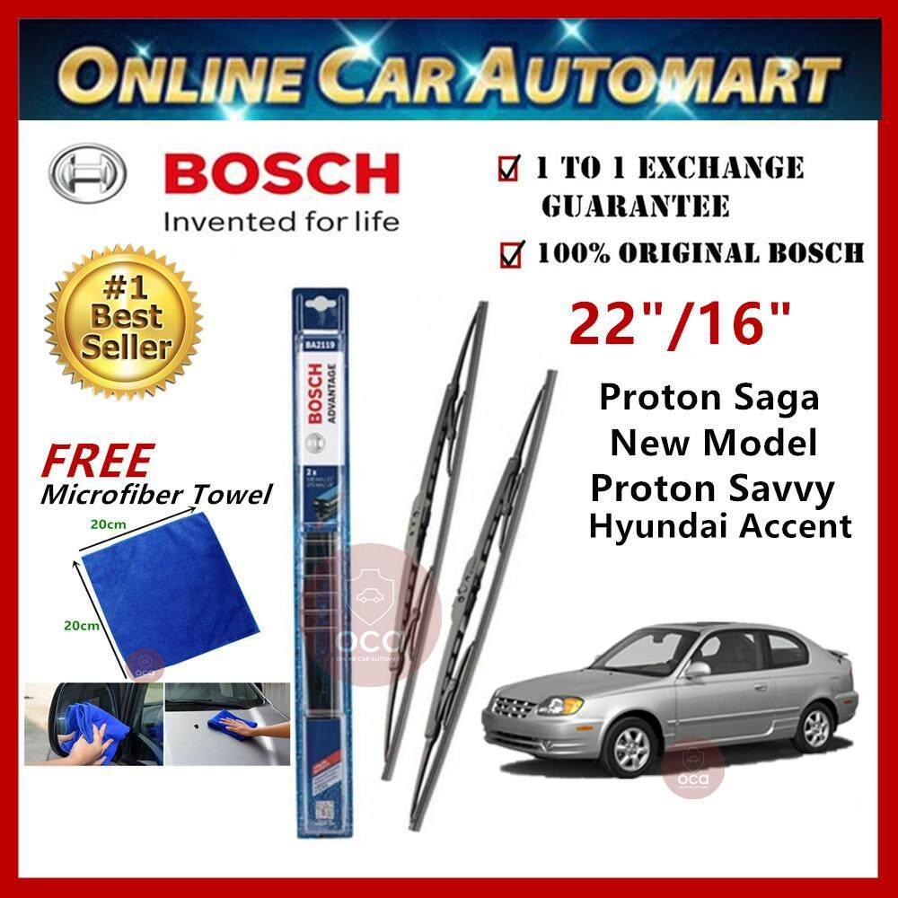 Hyundai Accent 2006-2011 - Bosch Advantage Wiper Blade (Set) - Compatible only with U-Hook Type - 22 inch & 16 inch