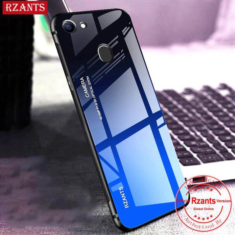 Rzants untuk OPPO F7 Case【Gradient】Smooth Tempered Glass Ultra-thin Shockproof Hard Back Phone Casing