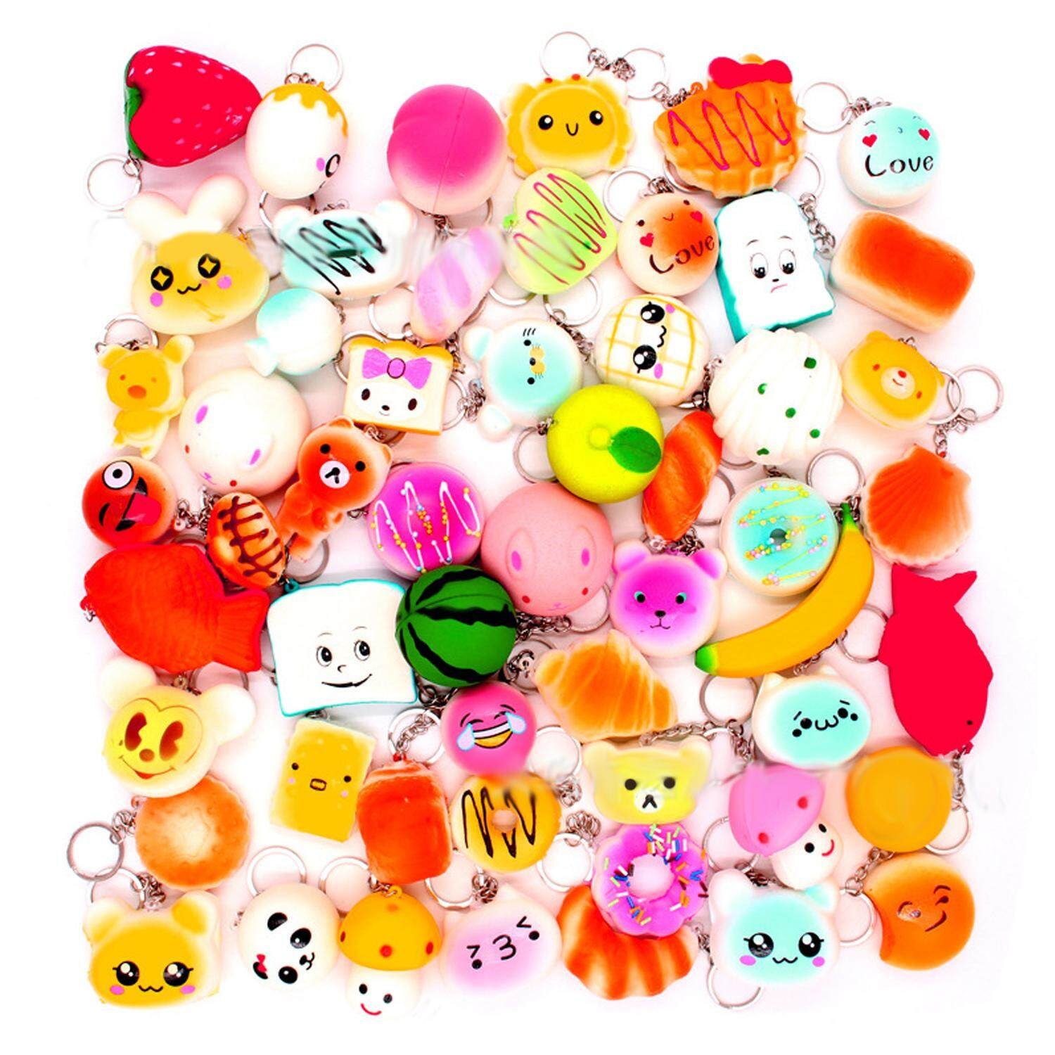 10 Pcs Funny Pu Hanging Slow Rising Squishy Toy Charms Key Chain Pendant For Relieves Stress Bag Purse Wallet Decoration Random Style - Intl By Stoneky.