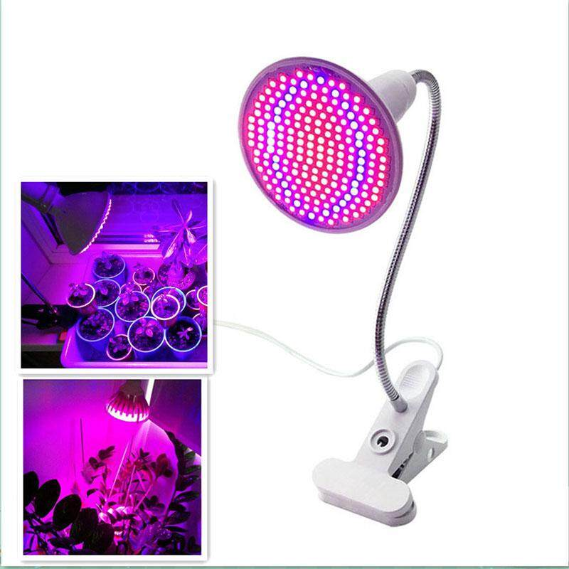 DSstyles 200 LED 20W Singlehead Clip Plant Grow Light with & Light for Indoor Hydroponic Vegetable Cultivation U.S. regulations Blue - intl