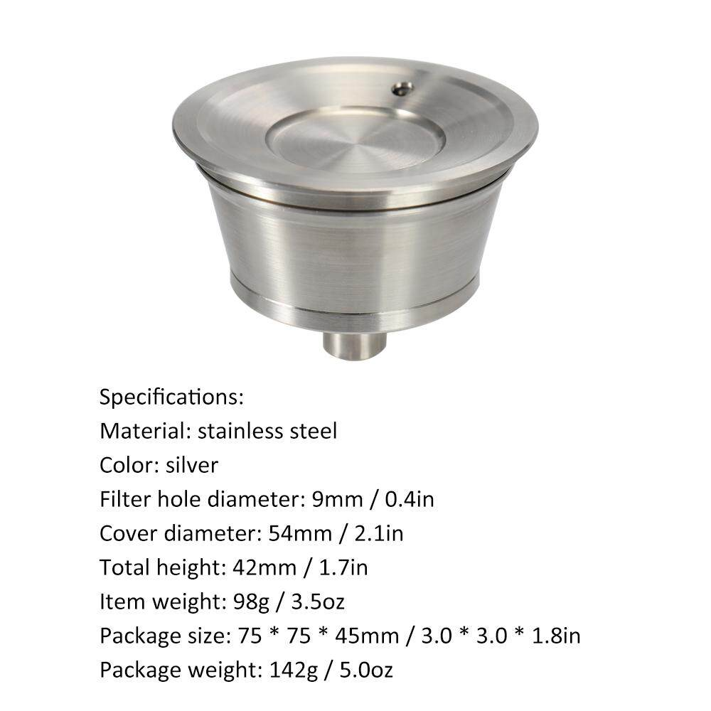 Stainless Steel Fillable Coffee Capsules Reusable Coffee Capsule Cup with Rotary Knob and Cleaning Brush for