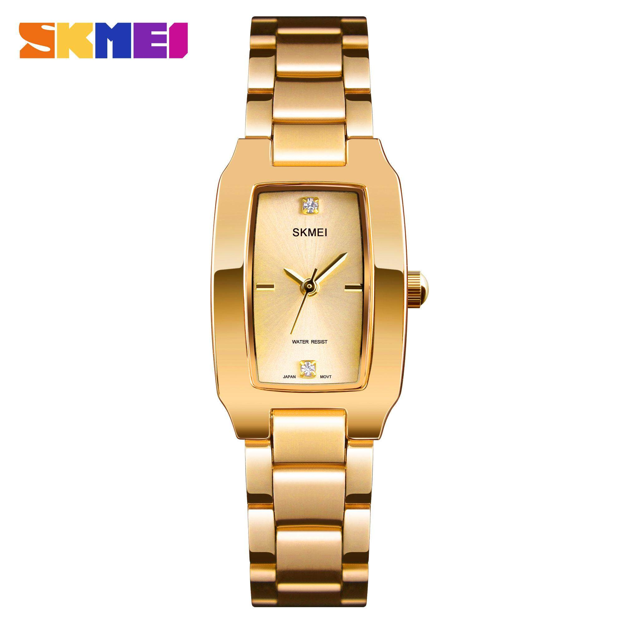 SKMEI New Women Fashion Watches Quartz Waterproof Watch Stainless Steel Simple Elegant Wristwatches Ladies Clock 1400