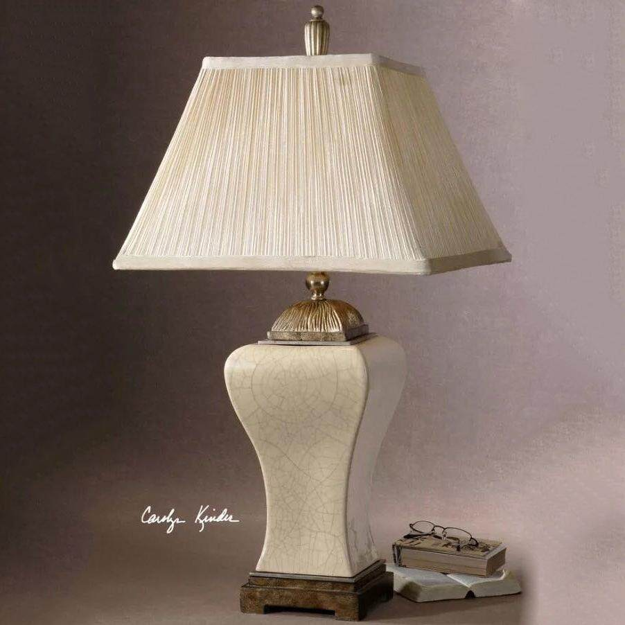 American Copper Luxurious Ceramic Bed Lamp Pastoral Style Ceramic Table Lamp Desk Lamp Bedroom Beside Lamp with Fabric Shade White Hand-painted (Energy Class A++)
