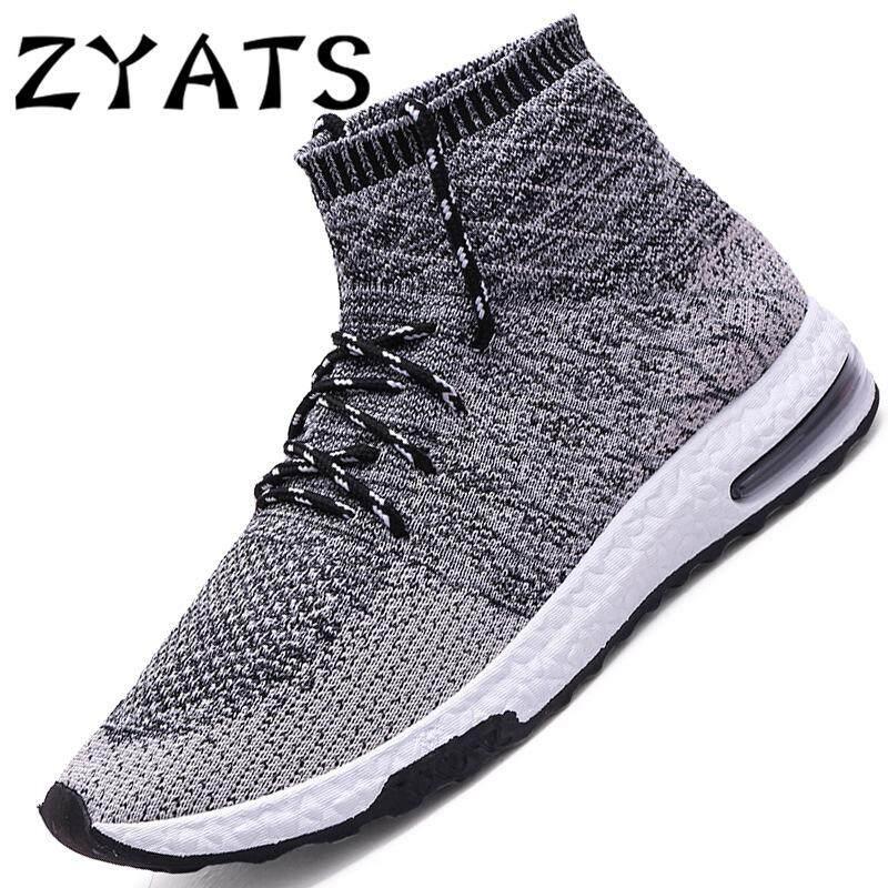 Zyats 2018 Baru Pria Tinggi-Top Sneakers Mesh Bernapas Kasual Sepatu  Olahraga Lari Sepatu 4c2f31da99