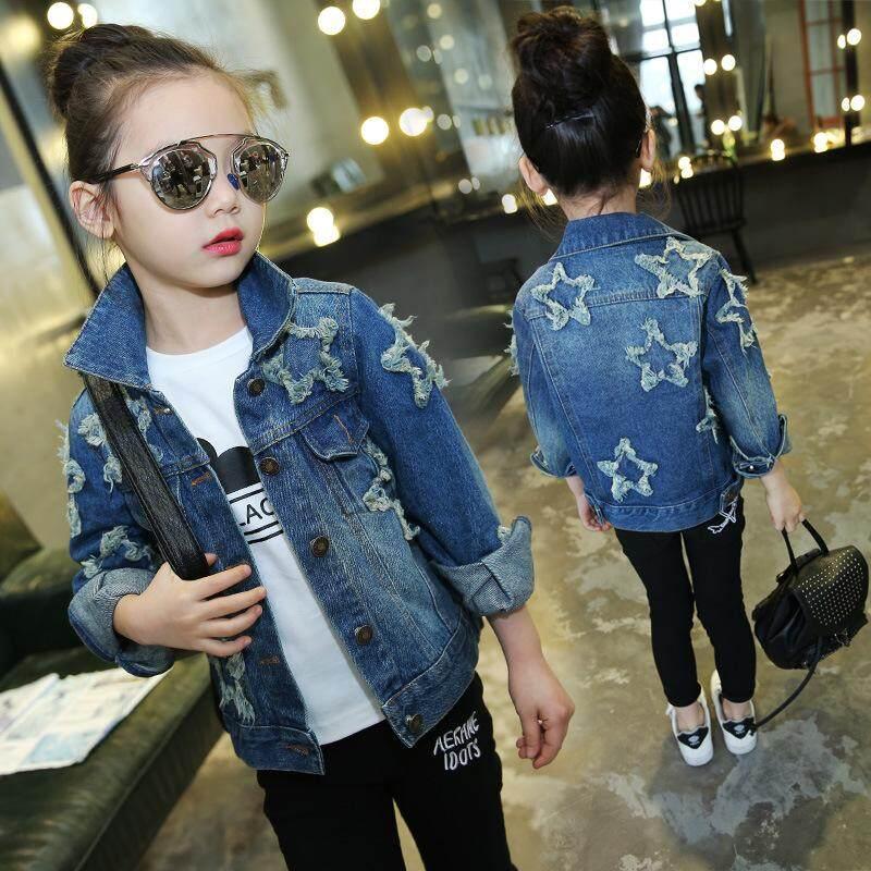 3-14Yrs Bintang Busana Remaja Jaket Denim Anak-anak Anak-anak Mantel Pakaian Luar Perempuan 2018 Baru Santai Musim Gugur Musim Semi Gadis Pakaian Lengan Panjang-Intl