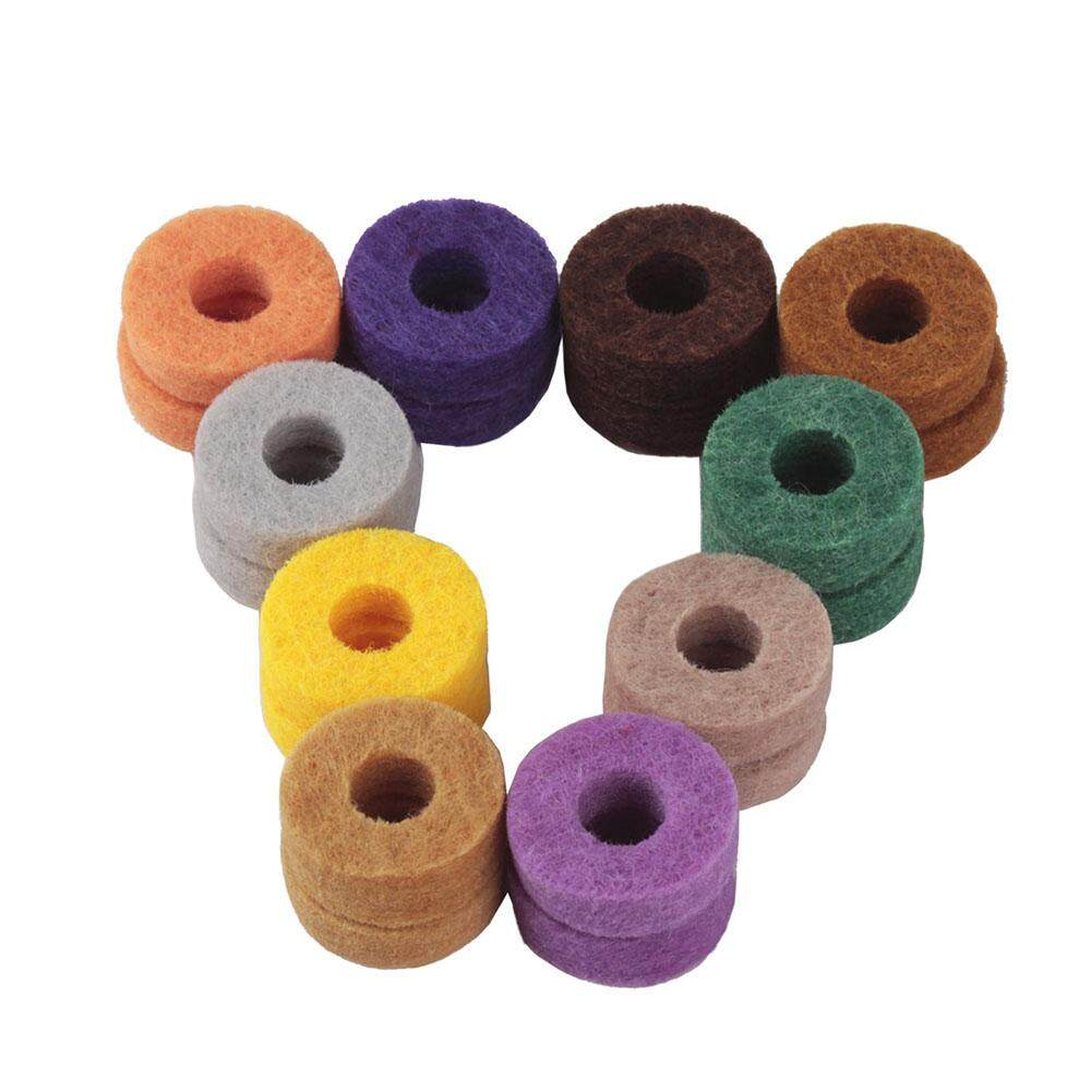 20pcs Colorful Cymbal Stand Felt Washer Pad Replacement Round Soft for Drum Set Cymbals (Random Color Delivery) - intl