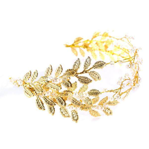 2018 Golden Hairbands Wedding Tiara Pearl Wedding Crown with Golden Leaves Bridal Hair Accessories Head Jewelry Wedding Hair - intl