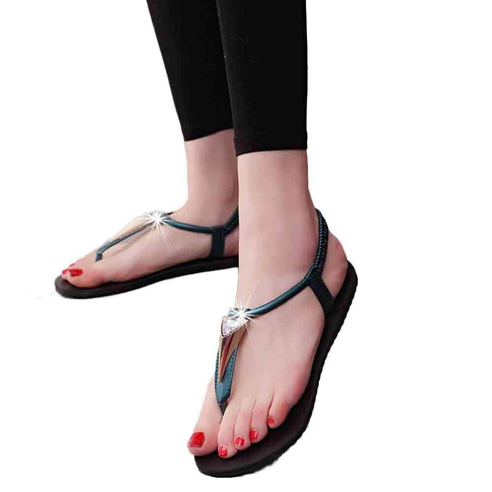 d8dda0d00f849b chinastorenie Women Flat Shoes Diamonds Bohemia Leisure Lady Sandals  Peep-Toe Outdoor Shoes