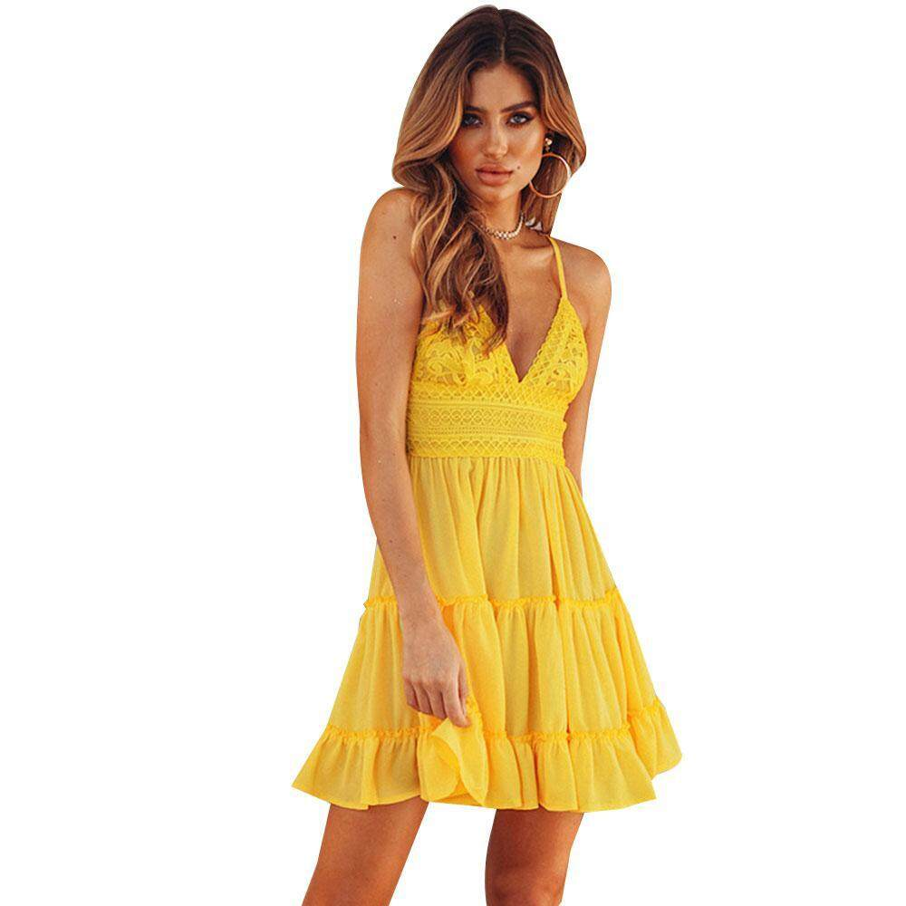 Fortunet Women Backless Lace Spaghetti Strap Dress Back Bow Tie V Neck  Cocktail Party Dress 2018 4a6a50cab402
