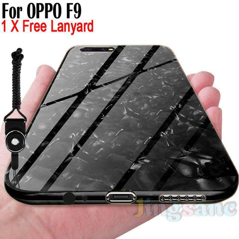 For OPPO F9 [Phone Case+Lanyard] Fashion Glass Case Scratchproof Soft TPU Edge