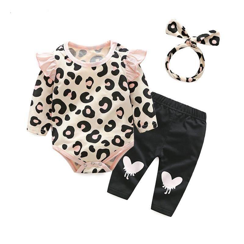 Giá bán 3Pcs Newborn Infant Baby Girls Clothes Romper Playsuit Pants Headband Outfit Set - intl