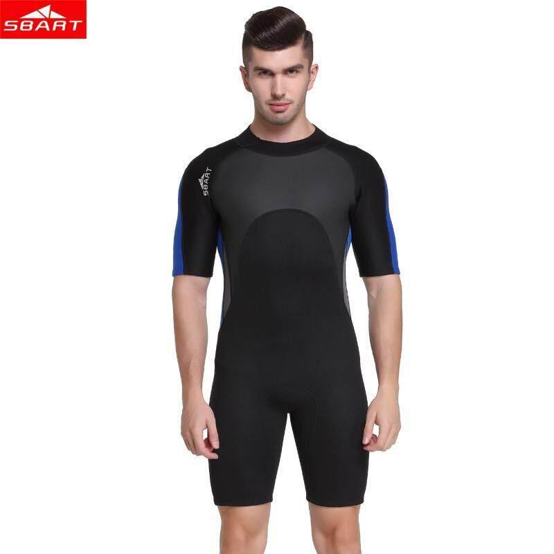 52328724d4 SBART Men 2mm Neoprene Wetsuit Short Sleeve Freediving Spearfishing Diving  Suit Snorkel Swimsuit One-piece
