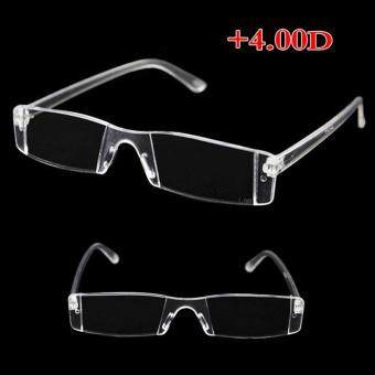 Rimless Reading Glasses Case Bag Metal Temple from 1.00 to 4.00 Diopter Clear (400 degrees)