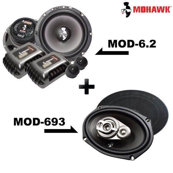 """2in1 Package - MOHAWK DIAMOND MOD-6.2 6.5"""" 2-Way Component Speaker + MOD-693 6""""x9"""" 3-Way Mid Bass Speaker Set"""
