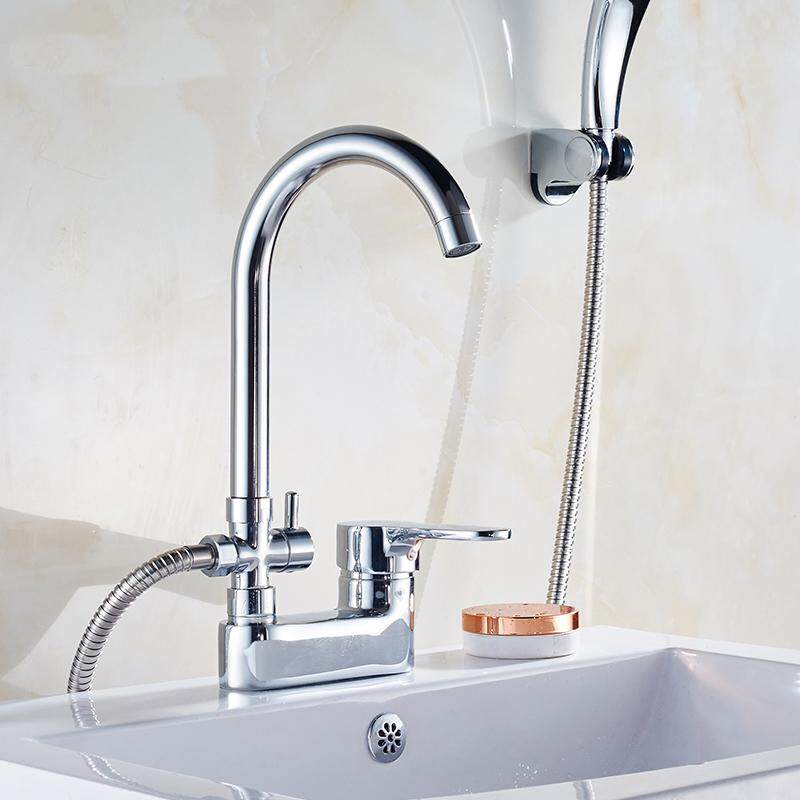 2 Jenis Shower Kamar Mandi Keran Wastafel Set Chrome Mixer Kran Shower Air Keran Wastafel Satu