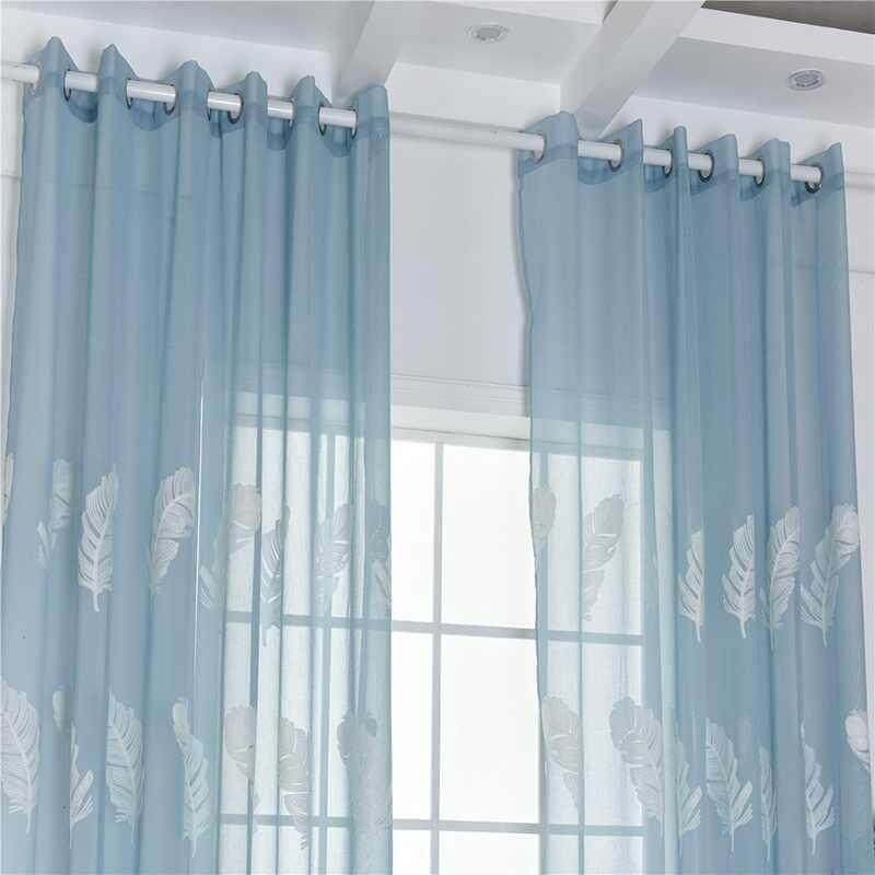 Costel (Free Shipping) 100*250cm Feather Embroidered Yarn Balcony Curtain Window Screen