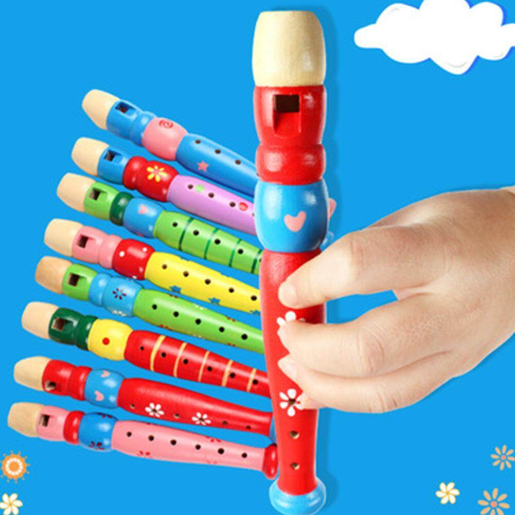 Wooden Kids Piccolo Flute Musical Instrument Early Education Develop Toy