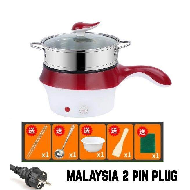 (Red+ Free Gift)MALAYSIA PLUG 18cm Multifunctional Electric Cooker / Steamer Non Stick Pot with stainless steel steam layer