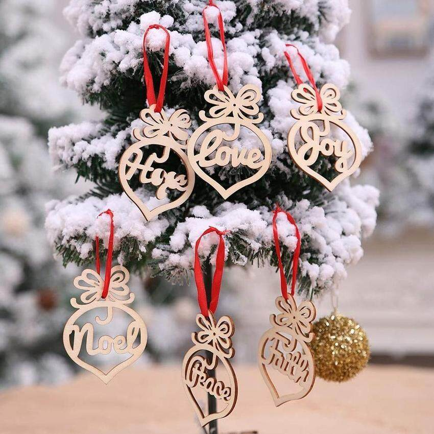 6Pcs Merry Christmas Decoration Wooden Hollow Ornament Christmas Tree Hanging Pendant Decoration
