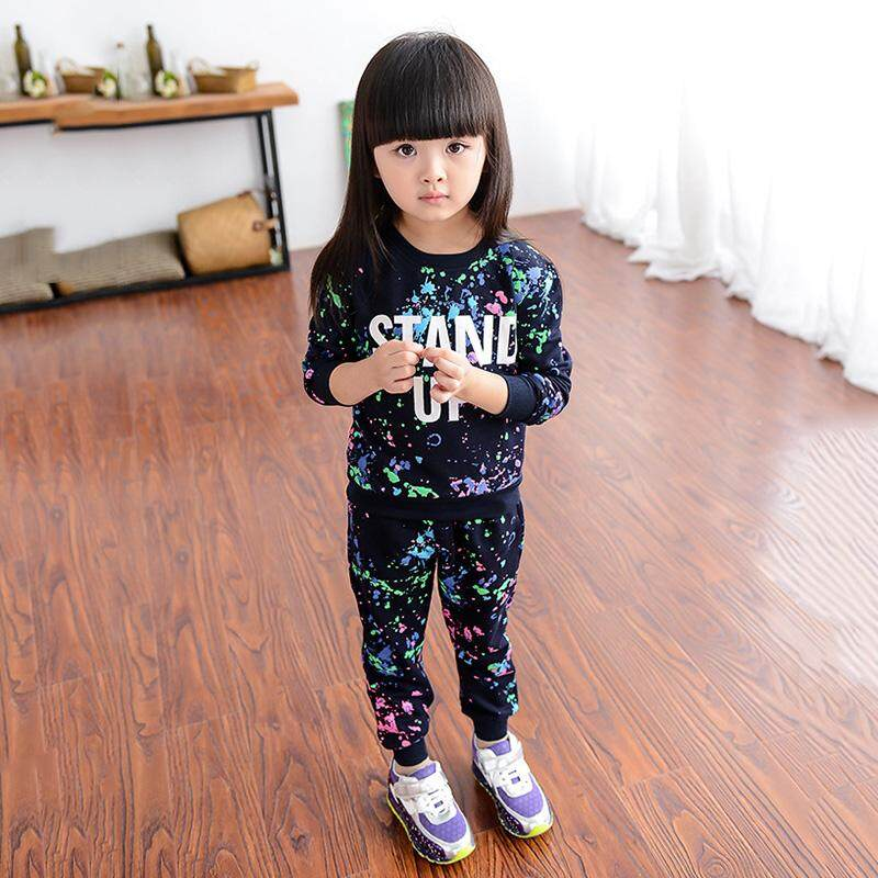 ❤️cutiebaby New Fashion Kids Child Gilds Casual Soft Long Sleeve Tops+pants Sport Wear Tracksuit By Cutiebaby.