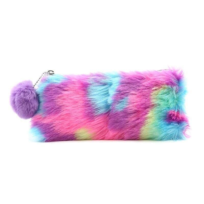 1bacde838699 Fancyqube Korean Kawaii Cute Plush School Pencil Case Rainbow Pencilcase  for Girls Large Big Pen Bag