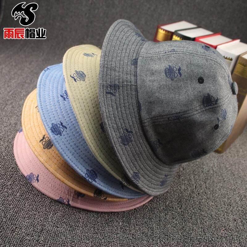 Hujan Chen Topi Grosir Jenggot Mata Katun Printing Joker Datar Basin Pria dan Wanita Topi Pencinta Topi Nelayan-Intl