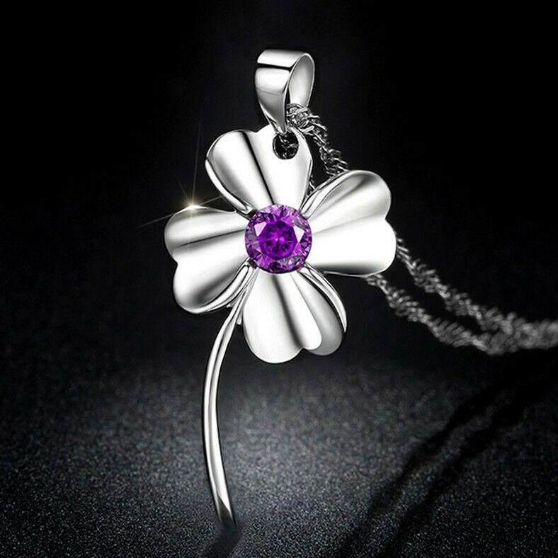 【Empat daun semanggi pesona kalung ungu】Kalung wanita liar manis lucu buatan tangan tetes