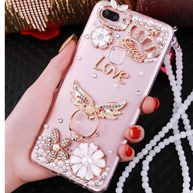 Hình ảnh 3D Bling DIY Rhinestone Case For OPPO F9 TPU Phone Cases Cover For OPPO F9 Diamond Cover + Pearl Chain
