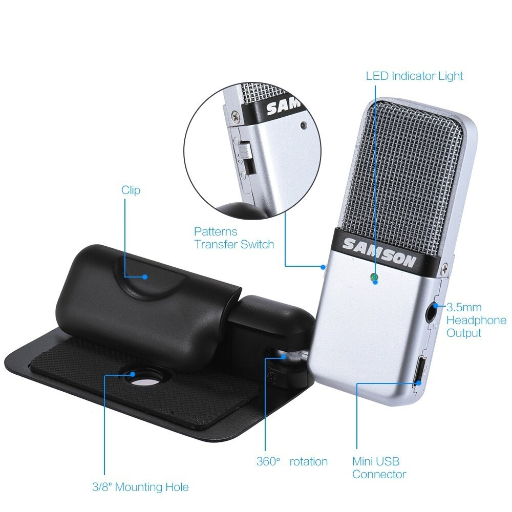 Keterangan Produk Samson GO Mic Mini Portable Recording Condenser Microphone Clip-on Design with USB Cable Carrying Case for Computer NoteBook T