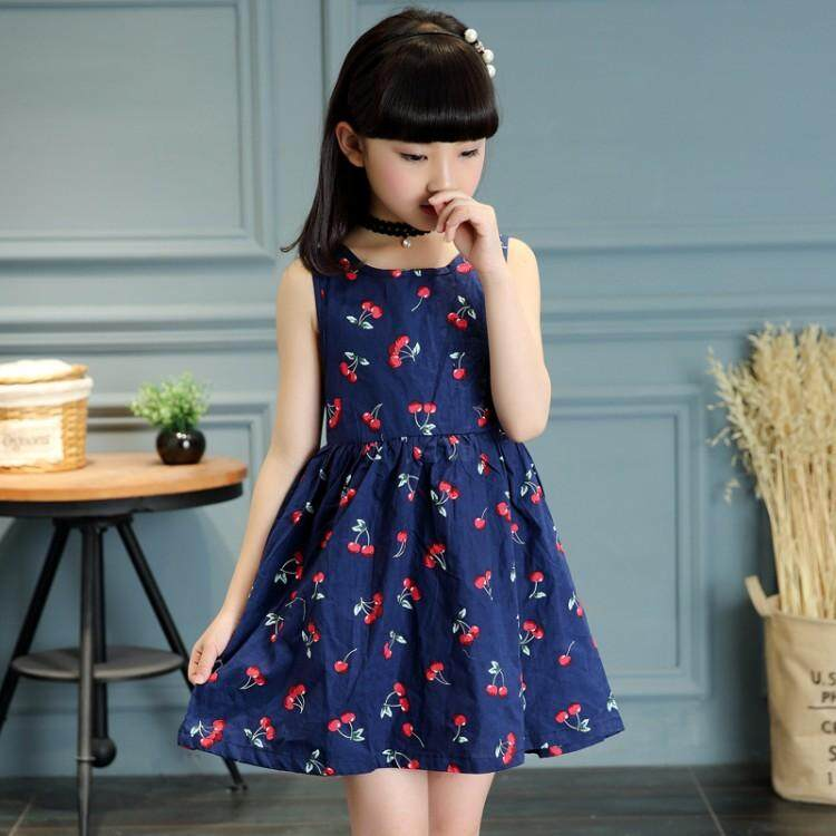 Yifang Kids Girls Long Sleeve Cherry Pattern Print Soft Cotton Summer Princess  Dress 730516046636