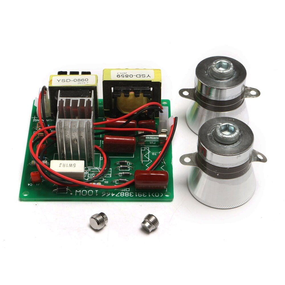 2pcs 50w 40k Transducers With 1pc Ac 220v Ultrasonic Cleaner Power Circuit Transmitter Package Included 1xpower Driver 2xtransducer