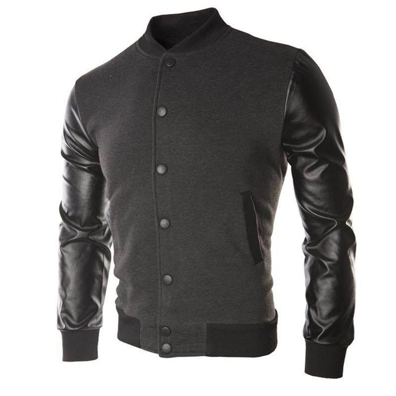 ZZOOI Cool Mens Wine Red Baseball Jacket Autumn Fashion Slim Black Pu Leather Sleeve Bomber Jacket