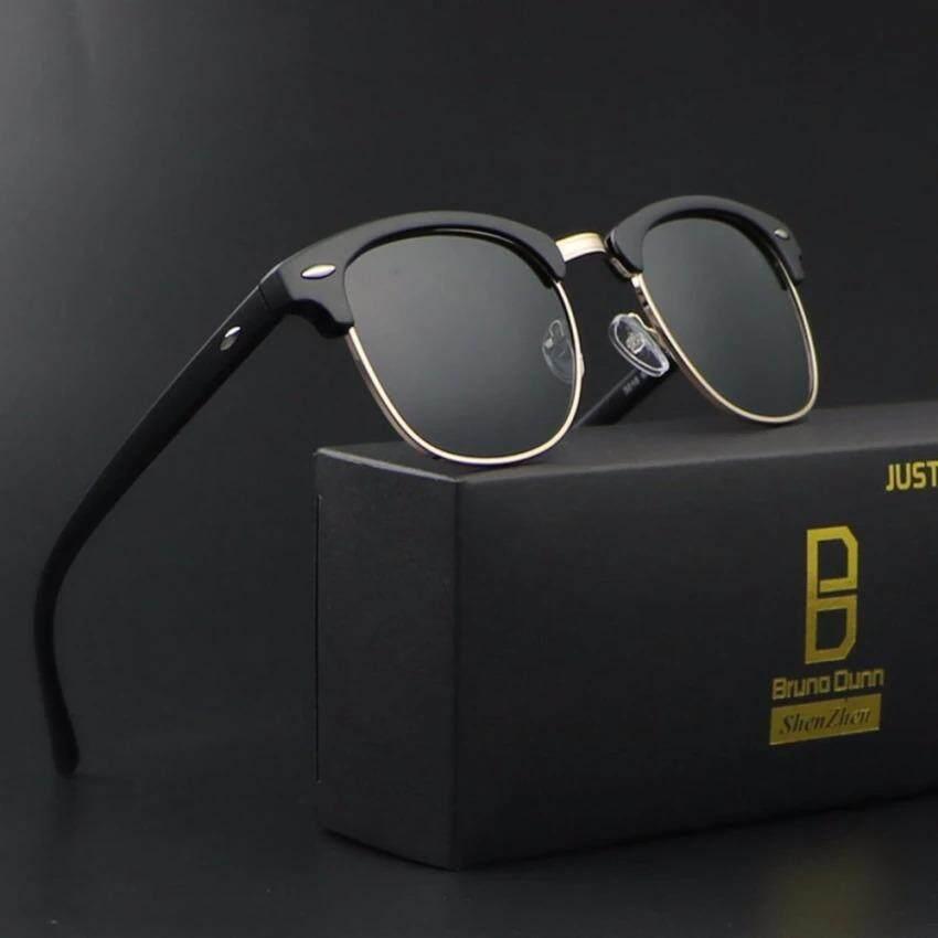 2017 Baru Modis Terpolarisasi Kacamata RayBan Sunglass Pria Wanita Klub Bingkai Merek Desain Retro Berjemur Kacamata Pria Kacamata Sinar 3016 (Hitam Bingkai Abu-abu Lensa) -Internasional