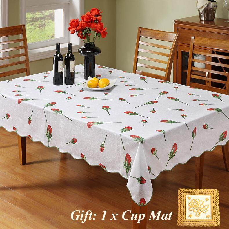 ... Taplak Meja Anti Air Peva. Source · Flower Printed Table Cloth Decorative Pastoral Style Waterproof Dining Table Protector Pad PVC Flannel Back No