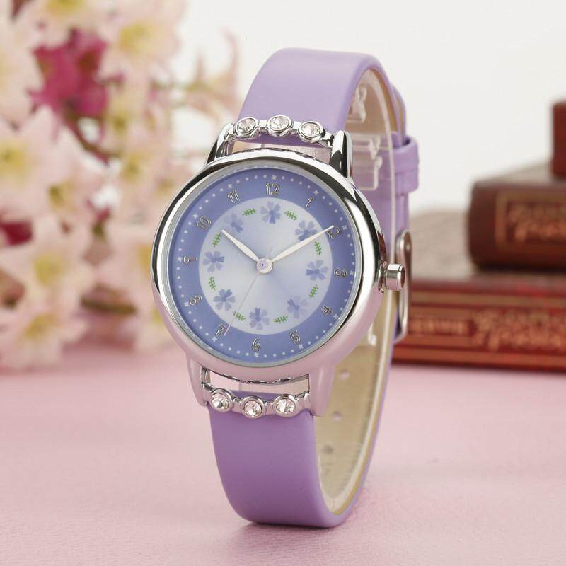 Girls Kids Children Waterproof Watches Rhinestone Flower Leather strap Wristwatches Student Cartoon Quartz Watch Malaysia