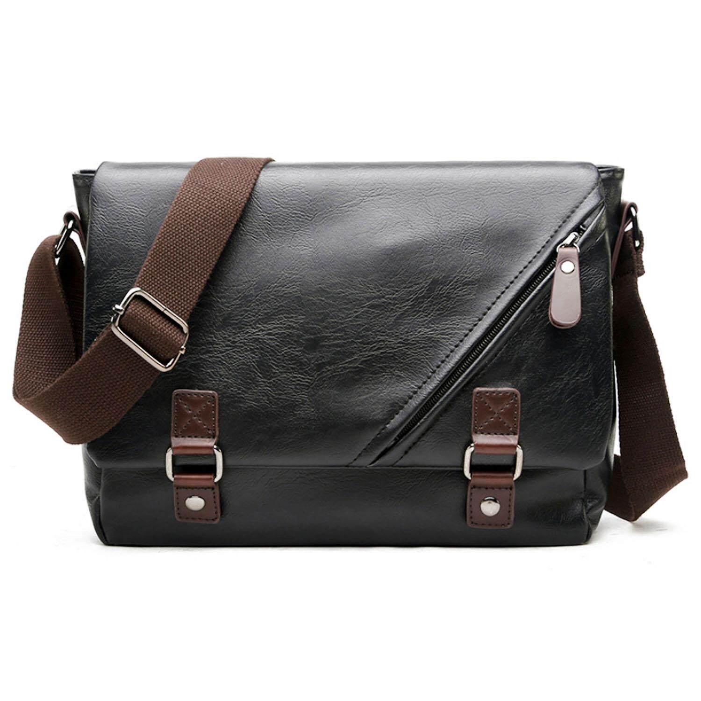 Men Fashion Pu Leather Shoulder Messenger Crossbody Bag Briefcase For Business Activity School Work Travel Black By Vococal Shop.