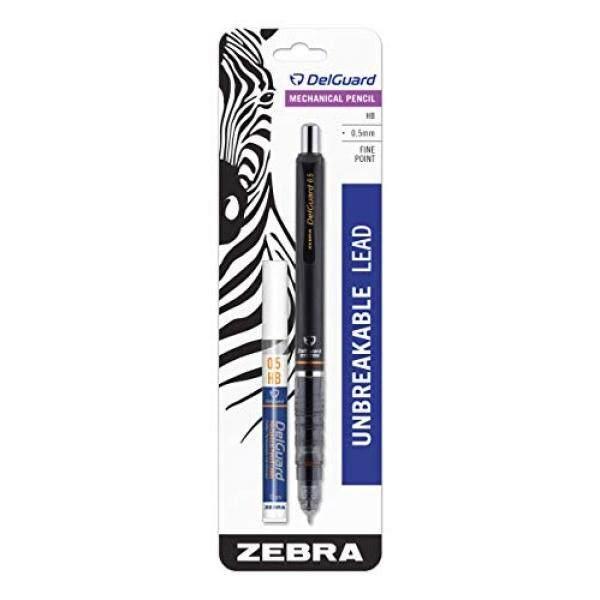 Zebra Delguard Pensil Mekanik dengan Bonus Isi Ulang Pensil Mekanik, Fine Point 0.5 MM Ukuran Titik Standar 2 Isi Pensil HB, tong Hitam, 1-Hitungan