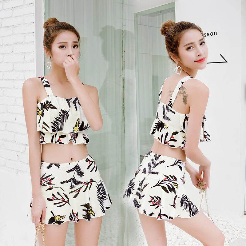 South Korea Split Type Two-Piece Set Hipster Girls Bathing Suit Holiday Xue Sheng Kuan Separate Boxers Printed Swimwear Batch By Taobao Collection.