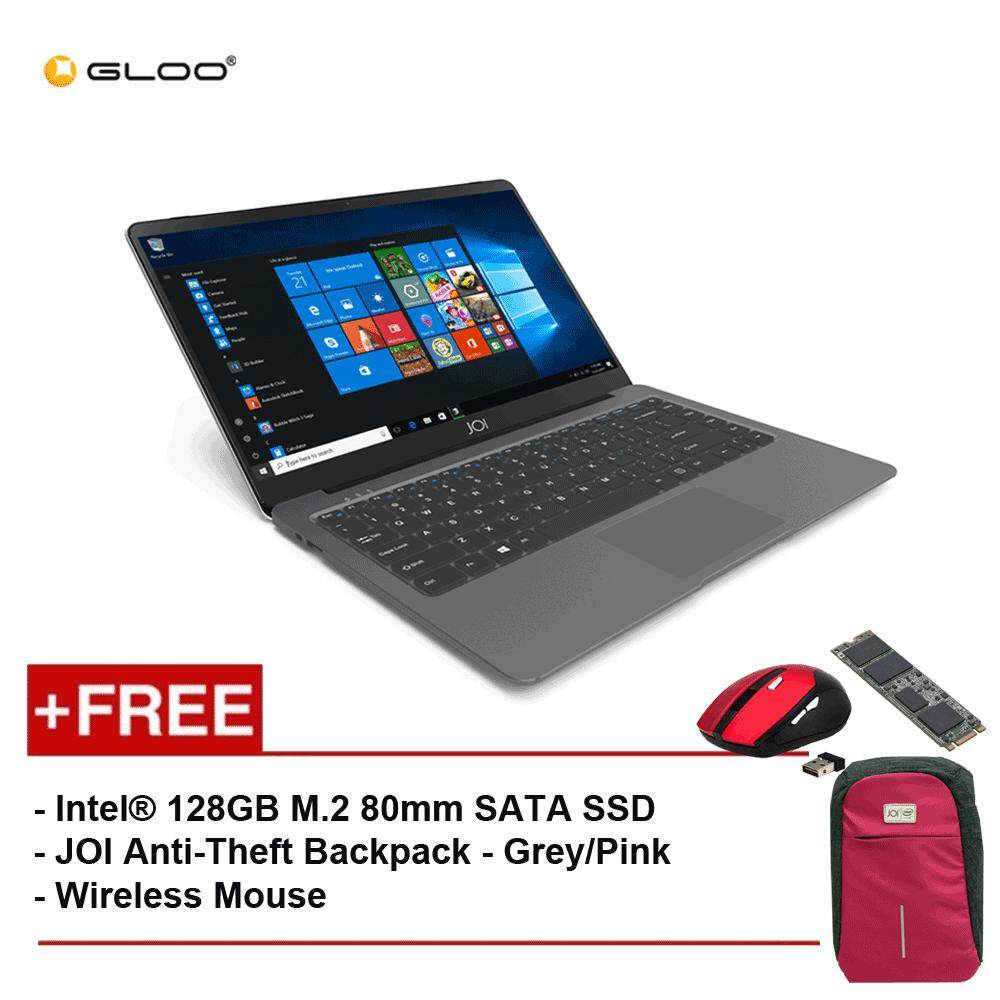 JOI Book 100 A147G 14 FHD (Cel N3450, 4GB, 32GB, Intel HD 500, W10) - Dark Grey [Free Intel® 128GB M.2 80mm SATA SSD + JOI Anti-Theft Backpack - Grey/Pink + Wireless Mouse] Malaysia
