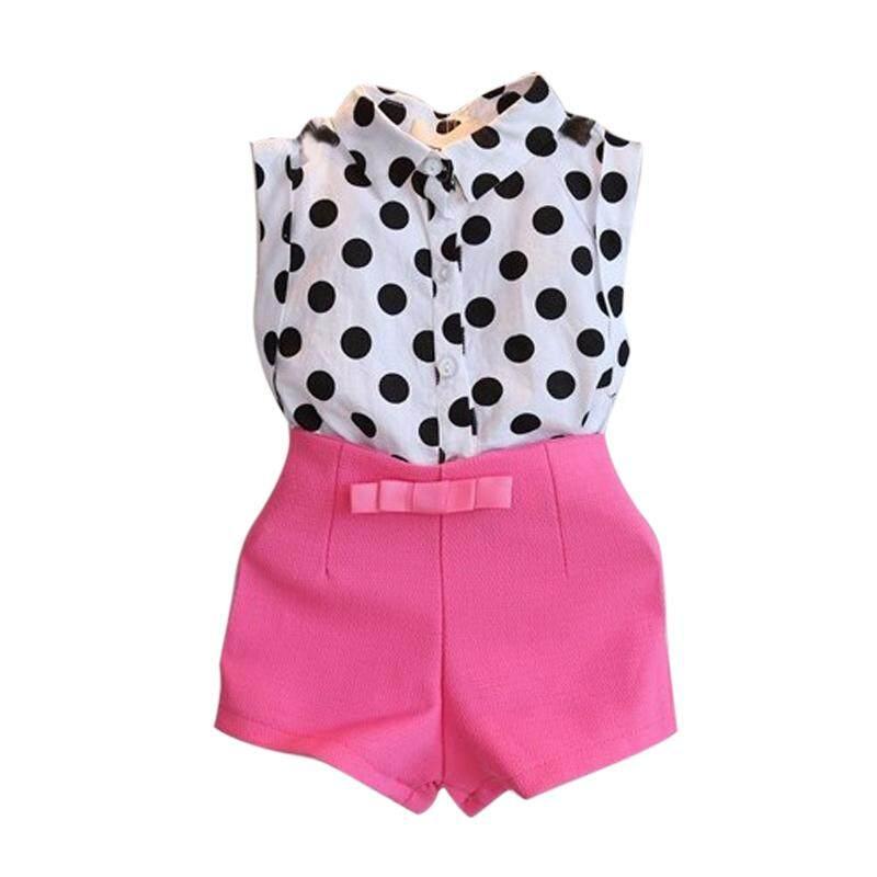 2 Pcs Gadis Lucu Musim Panas Set Tanpa Lengan Dot Kaus Sablon + Celana Pendek Busur Panah Celana Pakaian Naju Anak Suit-Intl
