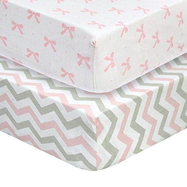 Cuddly Cubs Set of 2 Jersey Crib Sheets, Gentle on Baby Skin and Extra Soft for a Sound Sleep! Fitted and Snug, NO Struggle to Get on the Mattress. Pretty Chevron and Ribbon Pattern in Pink and Gray - intl