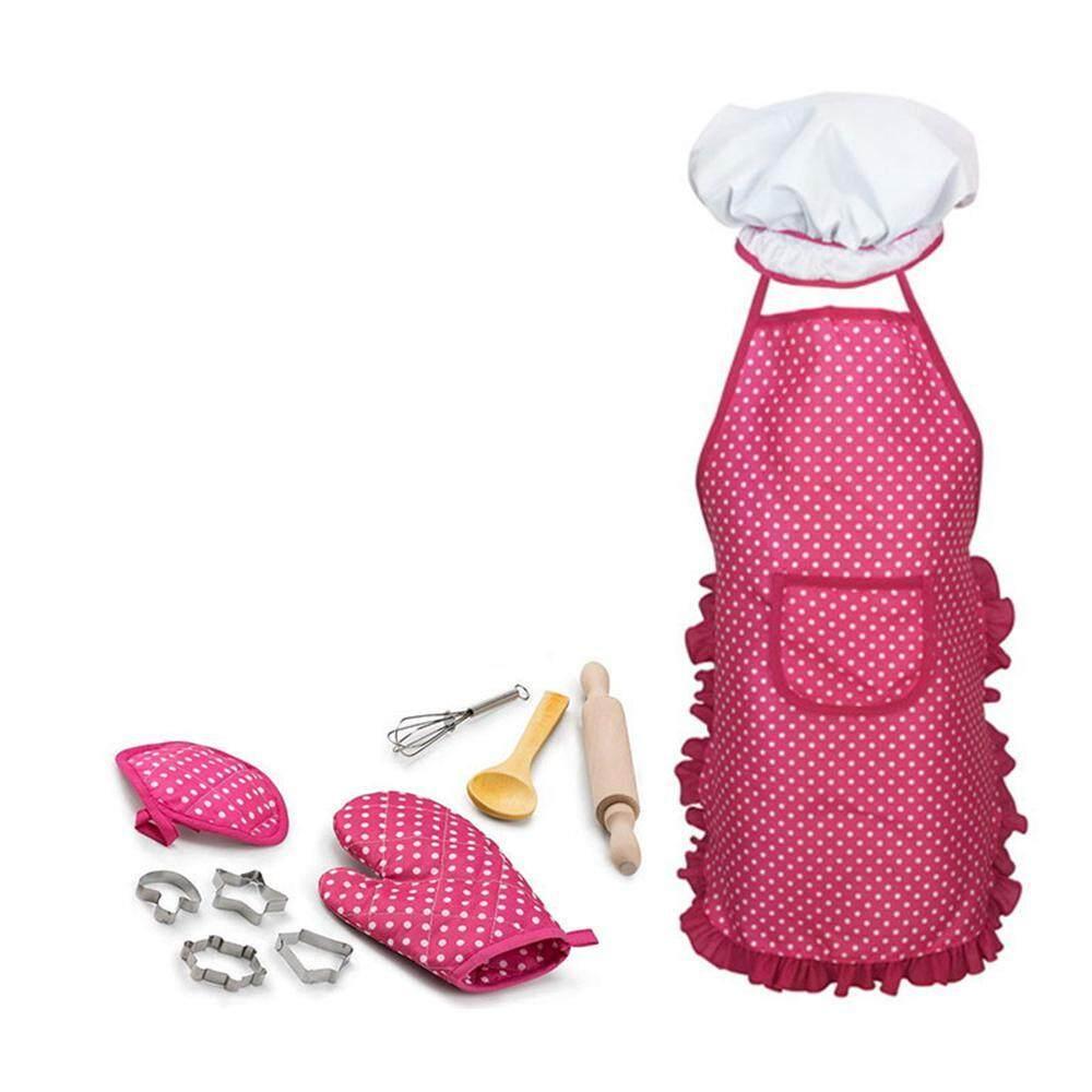 Buyinbulk Lengkap Memasak dan Baking Set-11 Pcs Sudah Termasuk Celemek untuk Anak-anak Kecil, Topi Koki, sarung Tangan & Alat untuk Gaun Balita Lebih Tinggi Pakaian Koki Karir Peran Bermain untuk Anak-anak