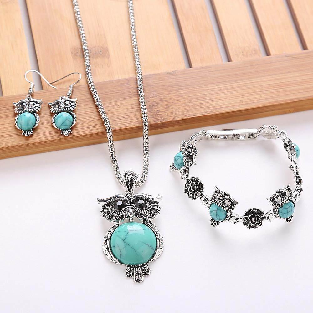 Buy Sell Cheapest Tibet Stone Individual Best Quality Product 1 Set Perhiasan Perak Retro Gelang Liontin Anting Kalung Internasional