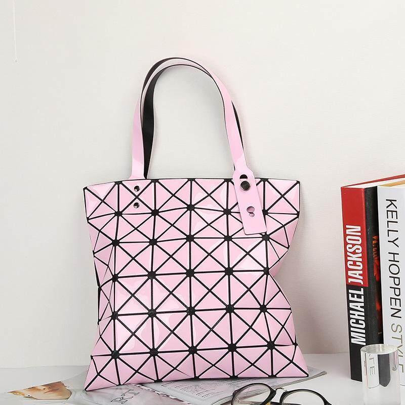 One-shoulder handbag geometric diamond laser bright folding Hand bag
